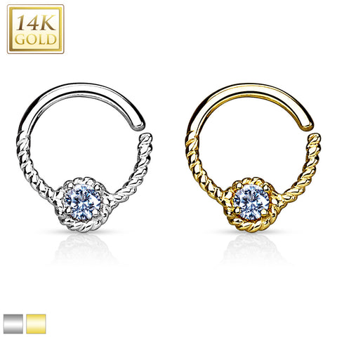 16G 14kt Gold Braided CZ Ring