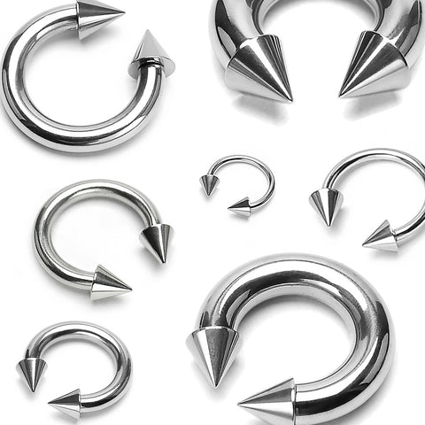 Surgical Steel Spiked Horseshoe