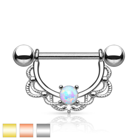 Opal Filigree Drop Nipple Bars