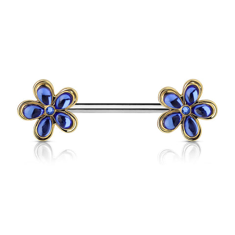 Crystal Flower Nipple Bar