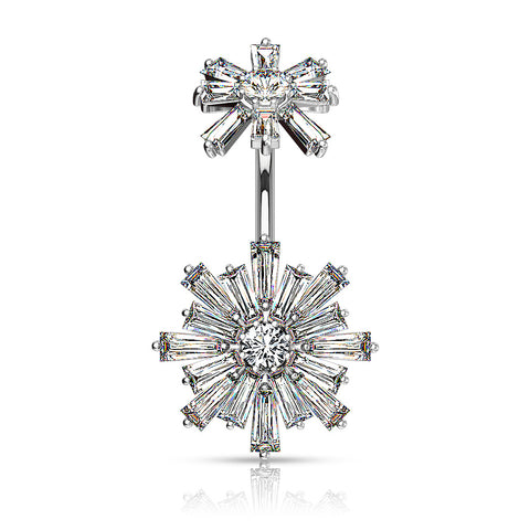 Baguette CZ Flower Navel Bar