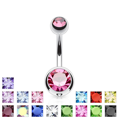 Double Jewelled Belly Bar Standard Size
