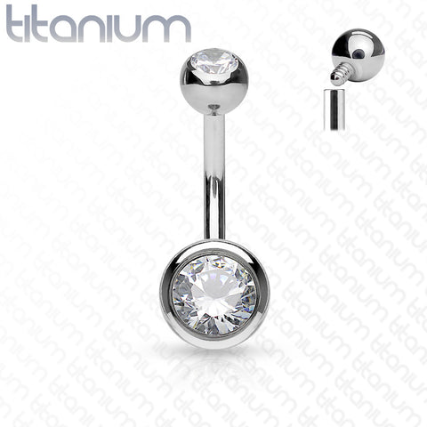 14G Solid Titanium Double Jeweled Navel Bar