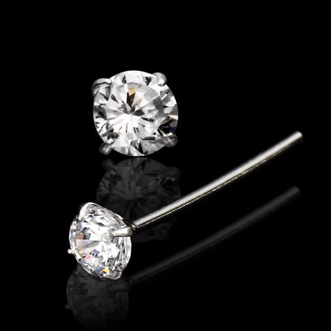 .925 Sterling Silver CZ Nose Stud