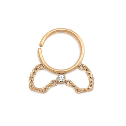 CZ Dangle Chain Ring