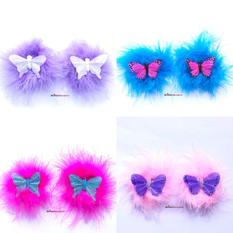Butterfly Fluff Hair Clips
