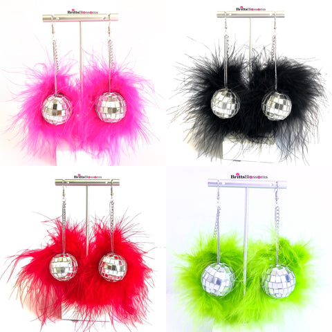 Disco Ball Fluff Earrings