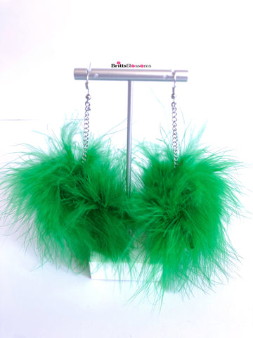 Kelly Green Fluff Earrings