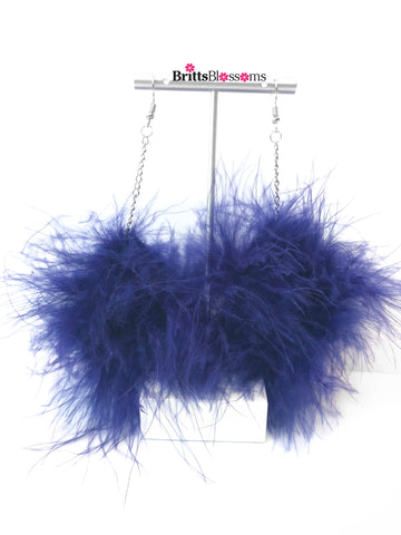 blue fluff earrings