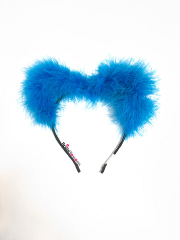 blue fluffy kitty ear headband