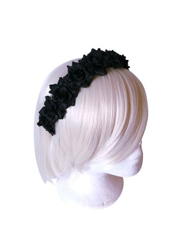 Black Rose Flower Headband