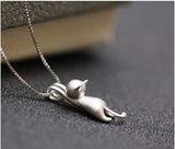 New Fashion Lovely 925 Sterling Silver Cat Necklace