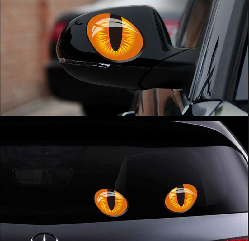 Cat eyes 3d car decals pair 10cm x 8cm