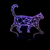 3D ILLUSION WALKING CAT COLORING CHANGING LED LAMP