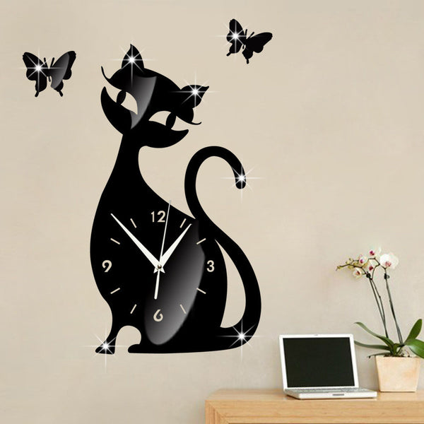 Cute Cat Mirror Wall Clock