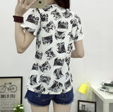 O-neck Cute Cat Print Tshirt