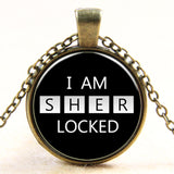 Handmade Vintage I'm Sherlocked Glass Pendant Necklace