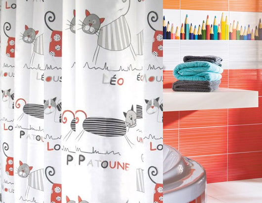 Multiple Size Cute Cat Bathroom Shower Curtains With FREE Hooks