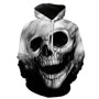 Melted Black And White Dark Skull Hoodie
