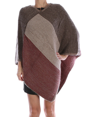 Frayed Soft Yarn Striped Poncho Scarf
