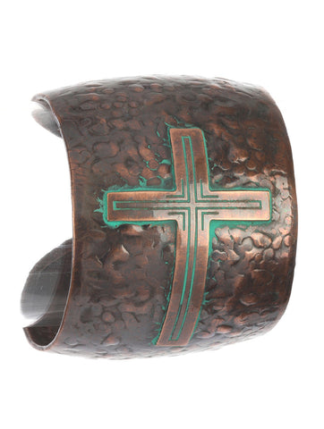 Hammered Metal Cross Cuff Bracelet - Texan Traders