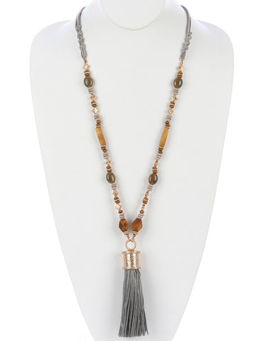 Multi-strand Natural Stone Tassel Necklace
