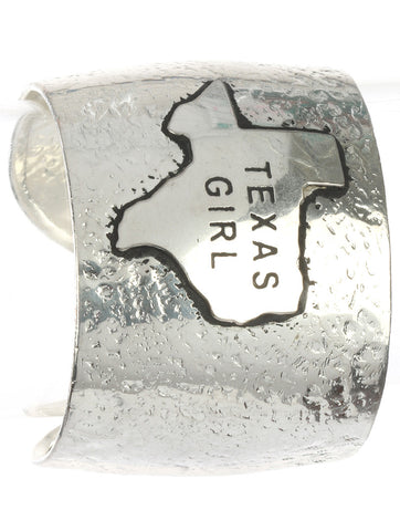 Texas Girl Textured Silver Metal Cuff Bracelet - Texan Traders
