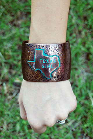 Texas Girl Textured Bronze Metal Cuff Bracelet - Texan Traders
