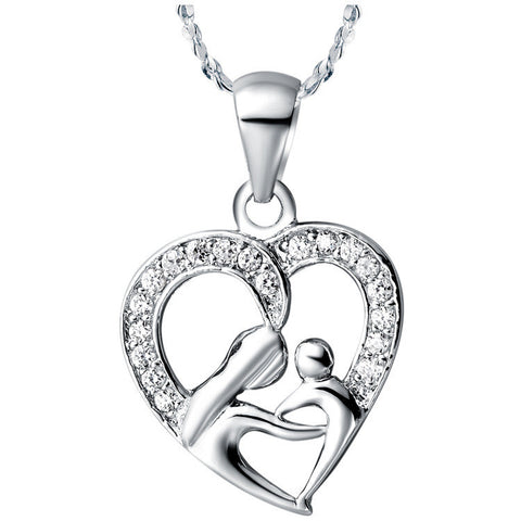 Mom and Baby Heart Pendant Necklace by Baby in Motion