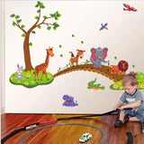 Cartoon Animals Crossing the Bridge Wall Decal Sticker by Baby in Motion