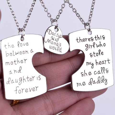 Mom, Dad and Daughter Loving Pendant Necklace by Baby in Motion