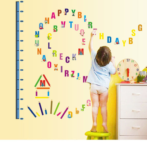 Alphabet Growth Chart Height Measure Wall Stickers For Kids  by Baby in Motion
