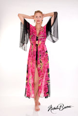 Long Kimono Sleeve Tie Front Duster - Lido