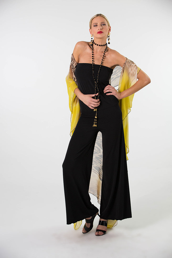 Strapless Palazzo One Piece Jersey Jumpsuit