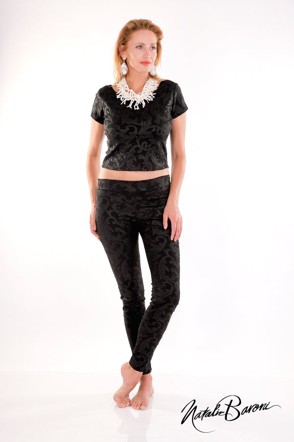 Black Embossed Weave Leggings - Roma