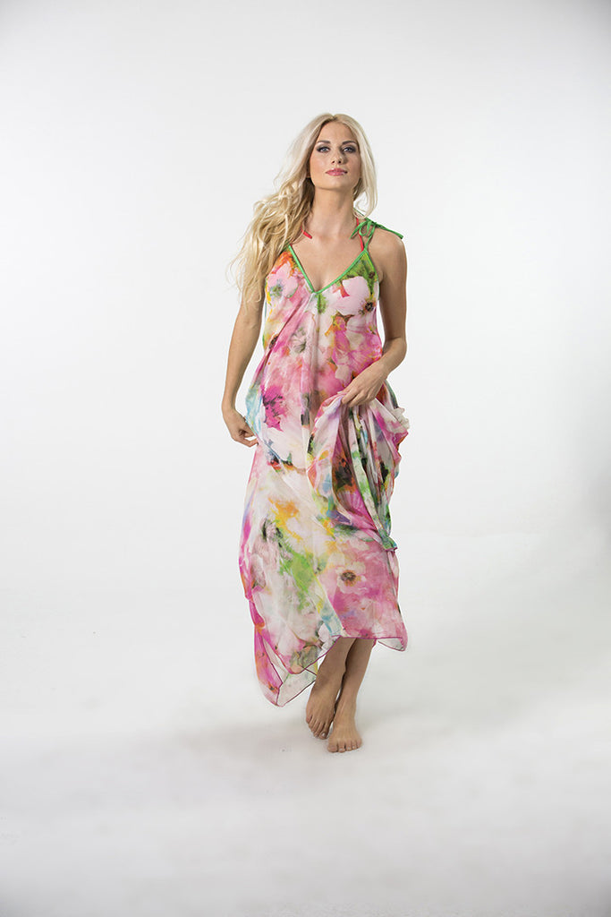 Tahitian Chiffon Tie Dress