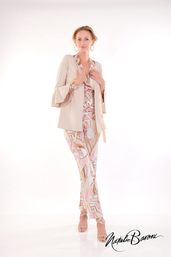3/4 Bell Sleeve Mid Length Jacket - Positano