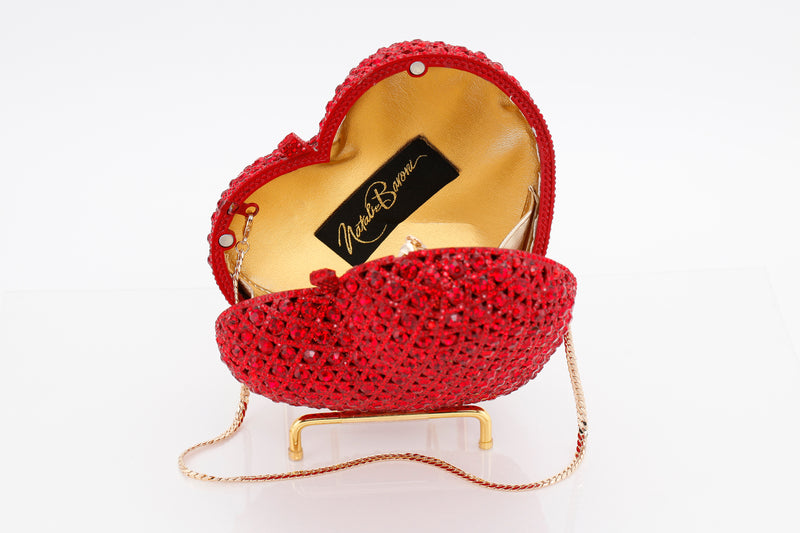 Couture Red Heart Crystal Clutch