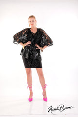 Sequin Short Poncho Top - La Scala