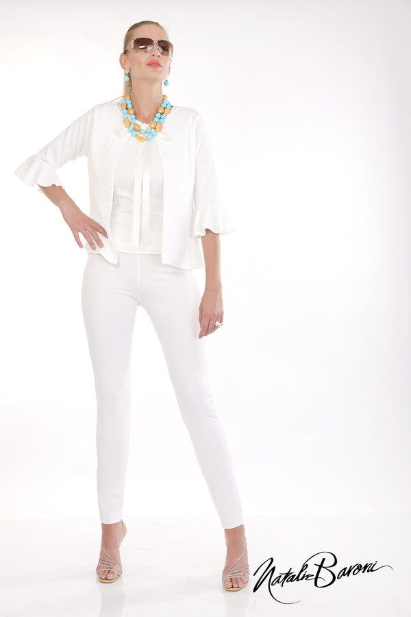 White Embossed Weave Leggings - San Remo