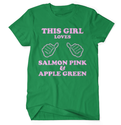 This Girl Loves Salmon Pink & Apple Green