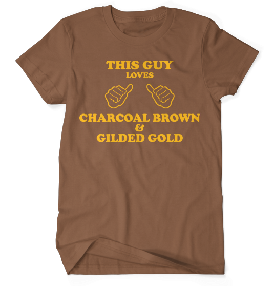 This Guy Loves Charcoal Brown & Gilded Gold