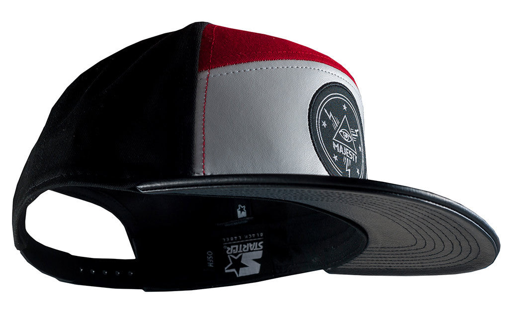 Majesty Destroy snapback baseball hat (black/red/white)