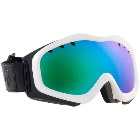 PATROL goggles White / Emerald Green Mirror + extra lens - Majesty Skis | USA