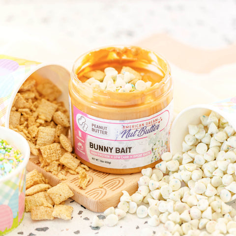 Bunny Bait Peanut Butter, American Dream Nut Butter, perfect low carb and low sugar treat for Easter!