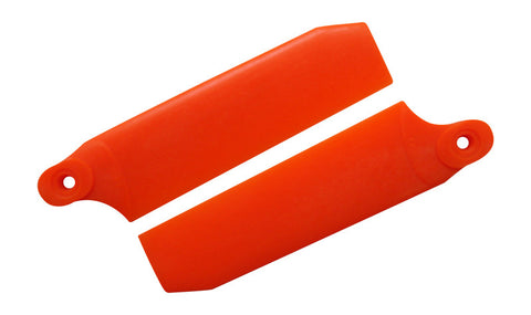 72.5mm W/ 5mm Root Neon Orange Extreme Edition Tail Rotor Blades - 500 Size #4034