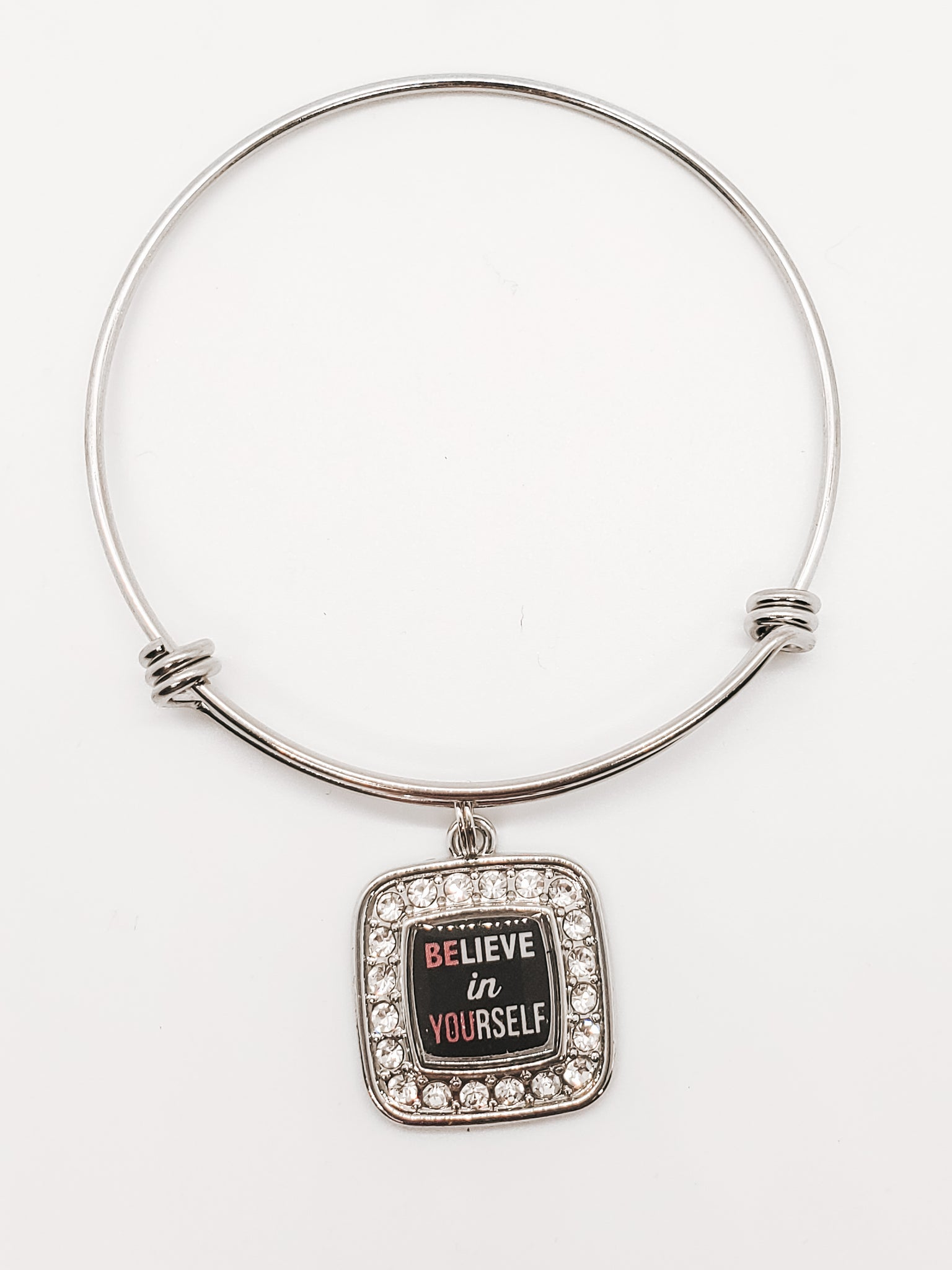 Believe In Yourself Charm Bracelet Bangle Stainless Steel Silver