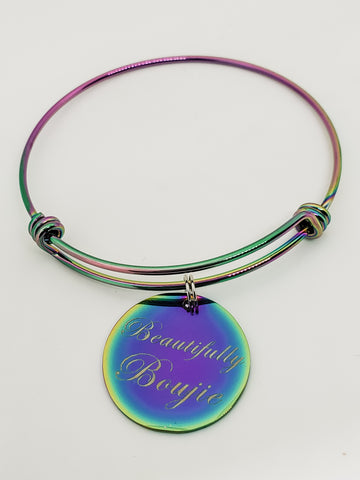 Beautifully Boujie Rainbow Charm Bangle