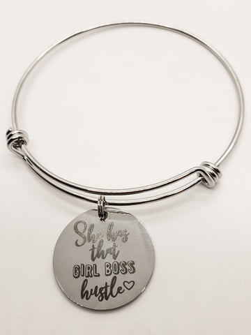 Girl Boss Hustle Charm Bangle