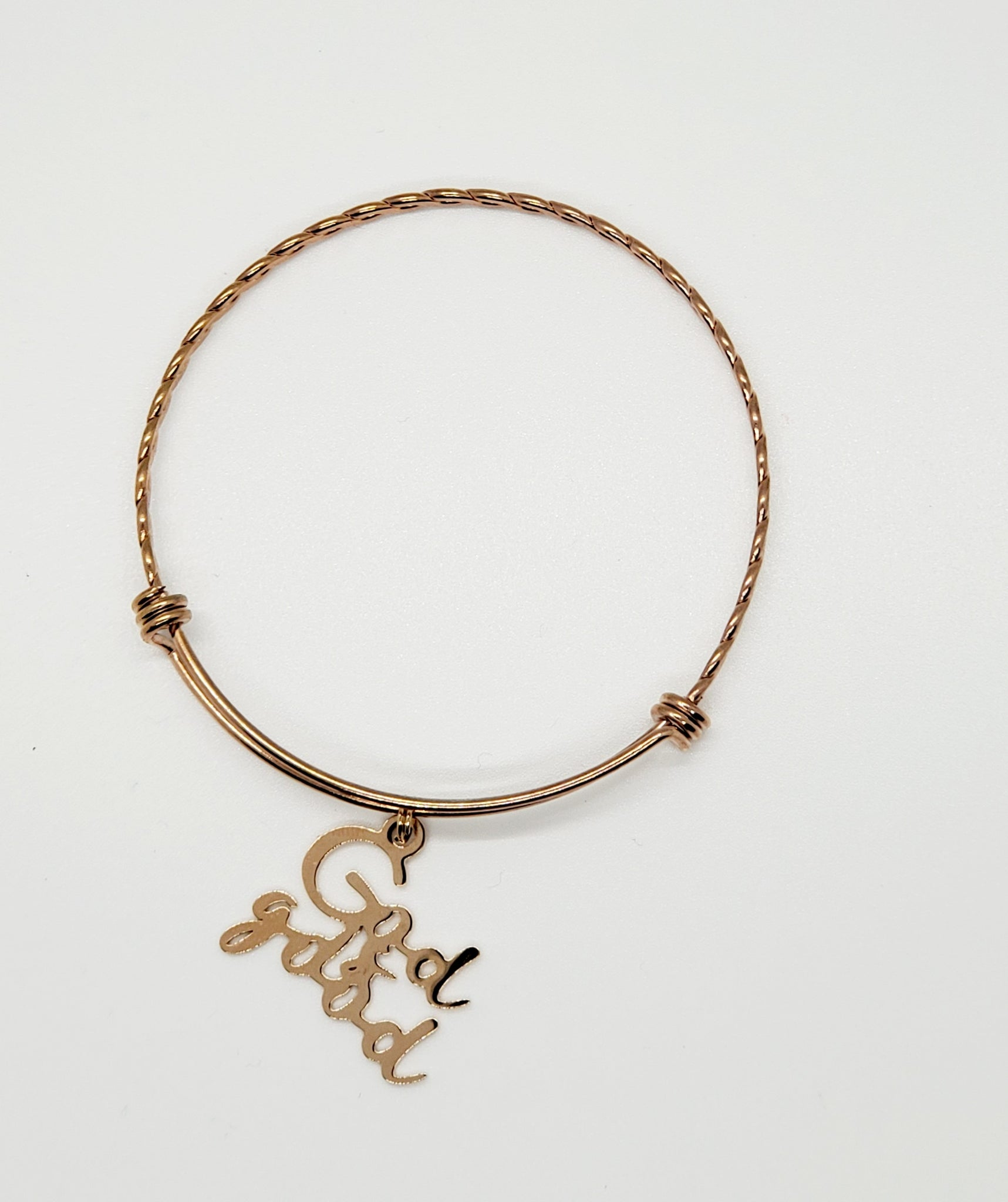 God Is Good Charm Bangle (Rose Gold)